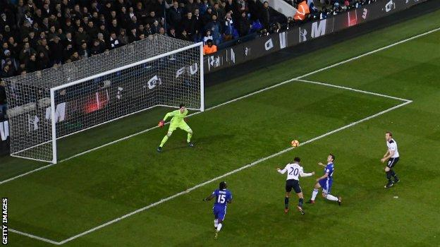 Dele Alli scores the first of his two headed goals in Tottenham's 2-0 win over Chelsea in January