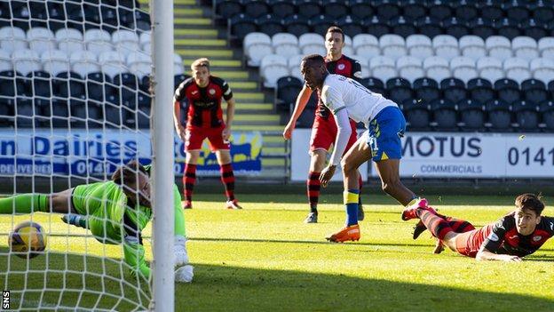Nicke Kabamba scores for Kilmarnock against St Mirren