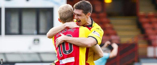 Kris Doolan and Chris Erskine of Partick Thistle celebrate a goal