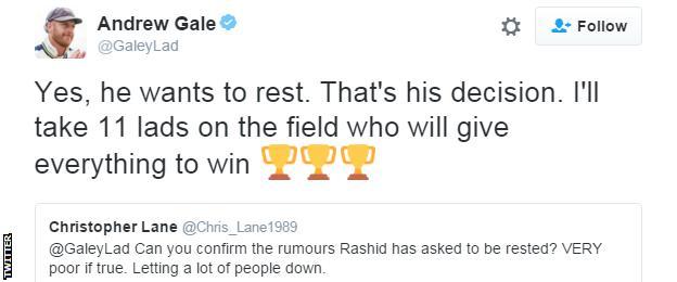 Andrew Gale tweet