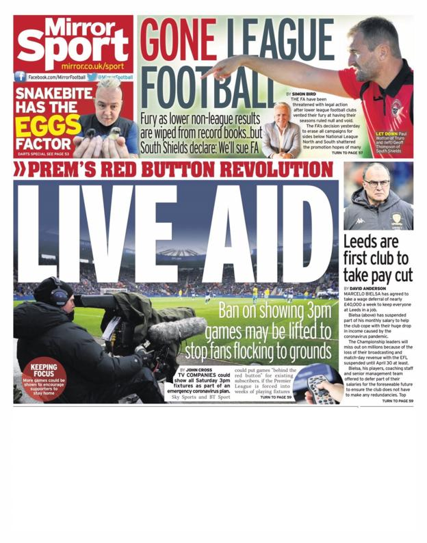 Mirror back page on Friday, 27 March