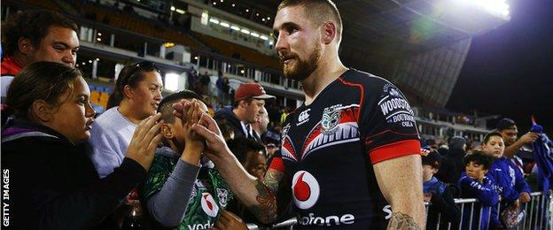 Sam Tomkins playing for NZ Warriors