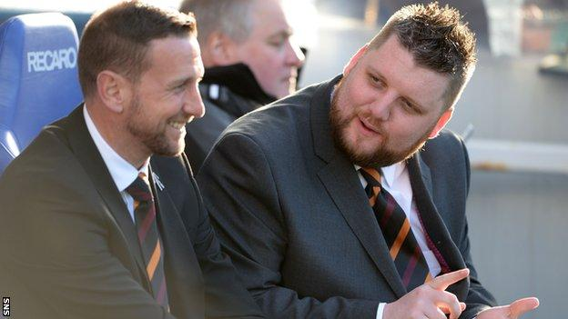 Ian Baraclough (left) and Motherwell general manager Alan Burrows