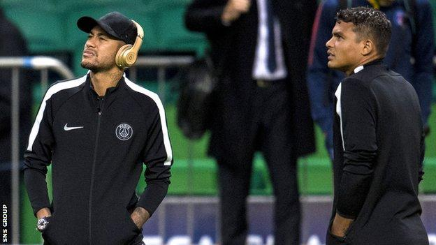 Neymar and Thiago Silva check out Celtic Park on Monday evening