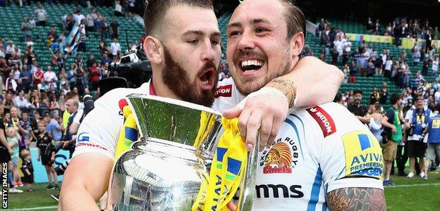 Luke Cowan-Dickie and Jack Nowell celebrate Exeter's victory over Wasps in the 2017 Premiership final
