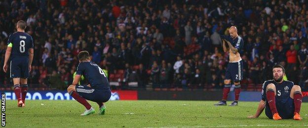 The Scotland players look crushed by Poland's equaliser at the end of injury time