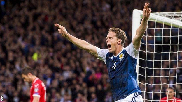 Scotland's Christophe Berra celebrates scoring against Malta