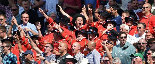 "Fans dressed as yeoman warders (aka ""Beefeaters"") at Edgbaston"