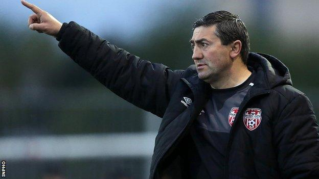 Derry boss Peter Hutton saw his team lose in Bray