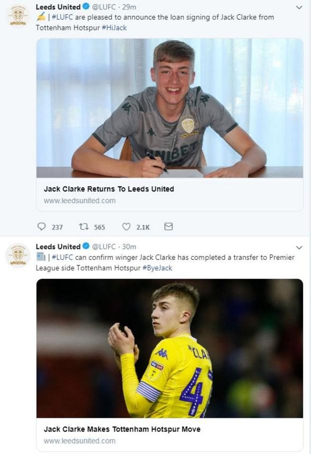 Leeds United announced the departure and return of Jack Clarke a minute apart on their Twitter feed