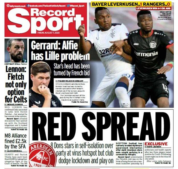 The Daily Record report that eight players were in the same bar on Saturday