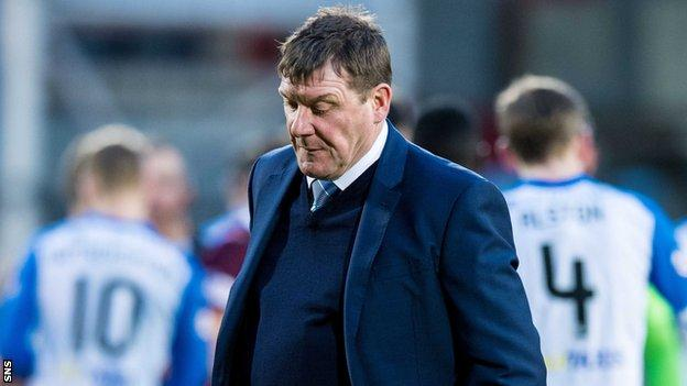 St Johnstone boss Tommy Wright looks dejected after their defeat by Hearts