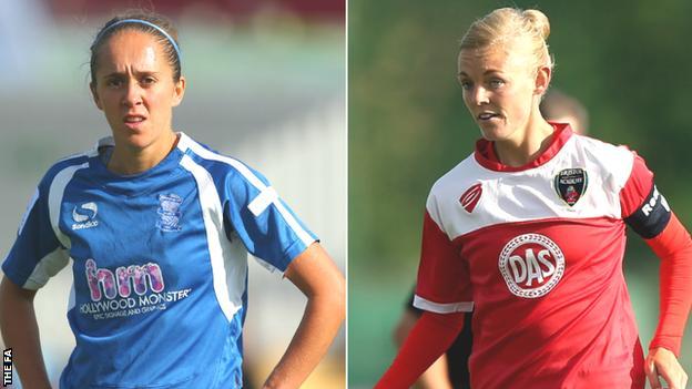 Birmingham City's Jo Potter (left) and Bristol Academy's Sophie Ingle