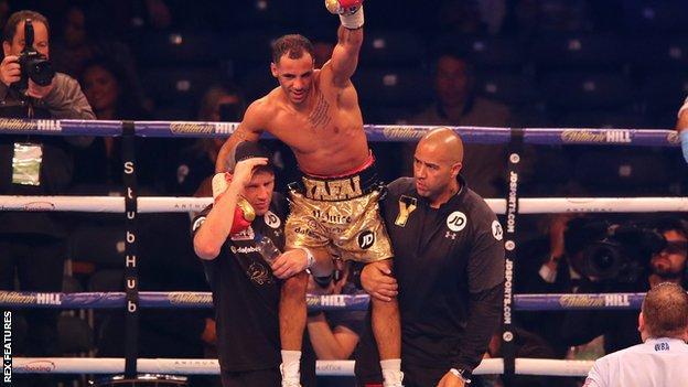 Kal Yafai celebrates defeating Sho Ishida to defend his WBA Super-Flyweight Championship