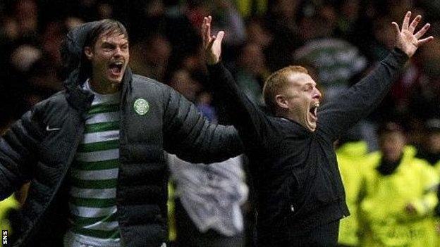 Neil Lennon celebrates Tony Watt's famous goal against Barcelona at Celtic Park