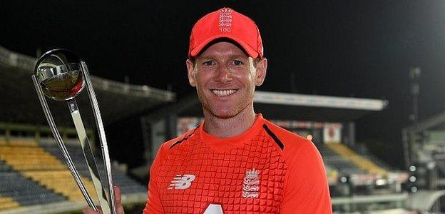 England captain Eoin Morgan collected the trophy after winning the series 3-1