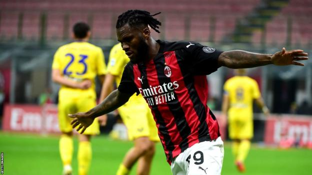 Ivory Coast's Franck Kessie celebrates a goal for his Italian club AC Milan