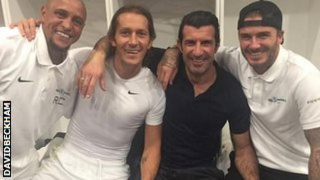 David Beckham (right) with his former Real Madrid team-mates