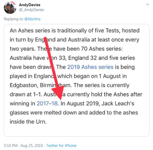 A tweet showing an updated Wikipedia entry on the Ashes