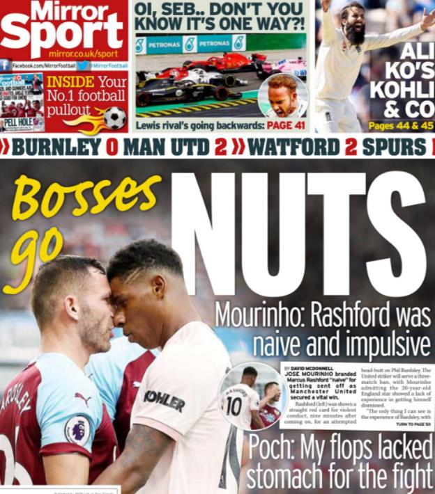 The Mirror leads on Marcus Rashford's red card for Manchester United