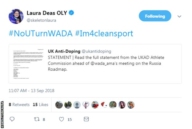 Laura Deas tweet calling for Russia's suspension to remain