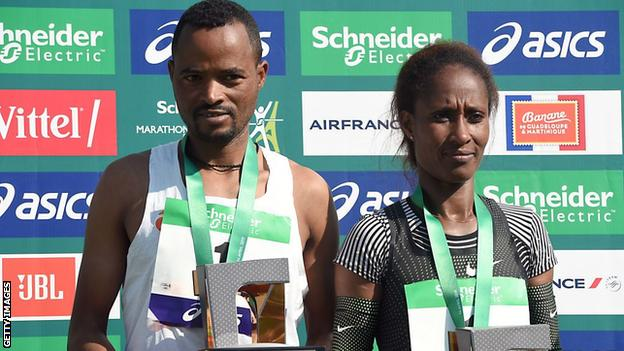 Abrha Milaw and Gelete Burka on the 2019 Paris Marathon podium