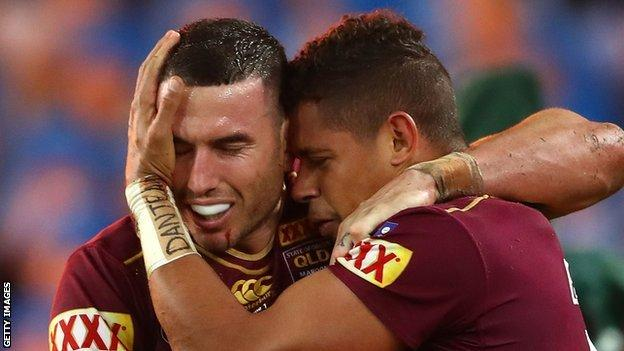 Dane Gagai celebrates with Darius Boyd