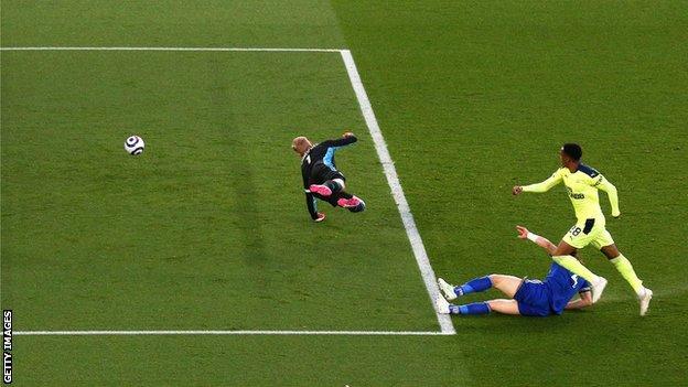 Joe Willock scores Newcastle's opener against Leicester