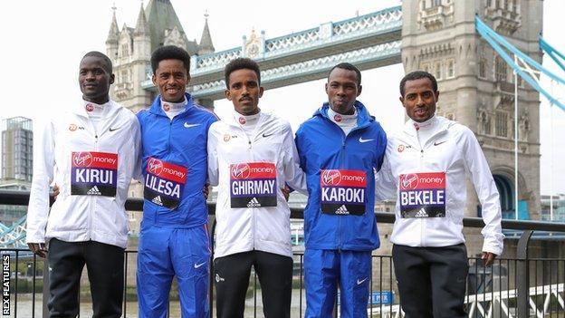 Ethiopian legend Kenenisa Bekele (right) leads a top class field in London