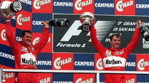 Michael Schumacher and Eddie Irvine