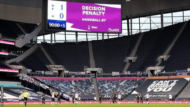 Big screen at Tottenham confirming a penalty has been awarded via VAR for handball