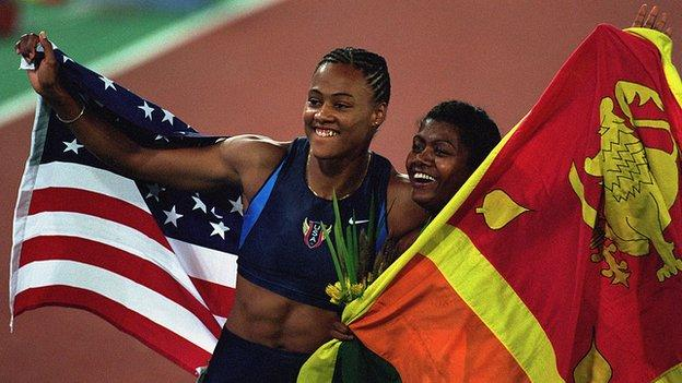 Marion Jones and Susanthika Jayasinghe at the 2000 Sydney Olympics