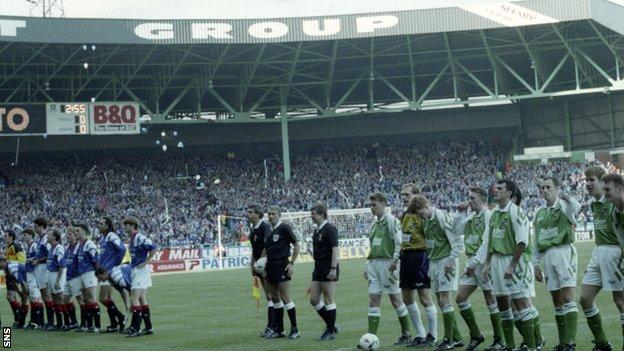 Rangers v Hibernian before the 1993 League Cup final