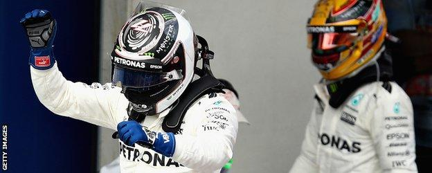 Vatteri Bottas celebrates
