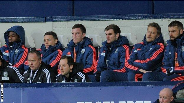 Saido Berahino (left) has been a fixture on the West Bromwich Albion bench since the start of November