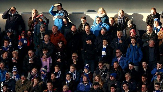 Reading supporters at MK Dons