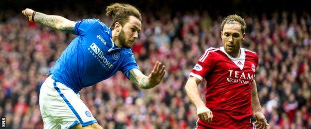 Stevie May in action for St Johnstone against Aberdeen