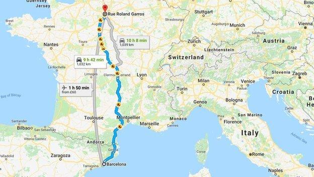 Map of route from Barcelona to Roland Garros