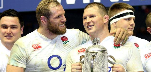 James Haskell and Dylan Hartley celebrate with the Calcutta Cup