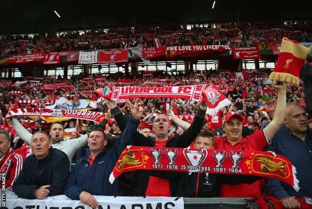 Liverpool fans at the 2016 Europa League final