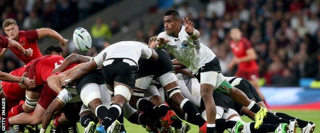 Nikola Matawalu distributes the ball off the back of a strong scrum