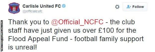 Carlisle United tweet