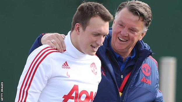 Phil Jones with his Manchester United manager Louis van Gaal