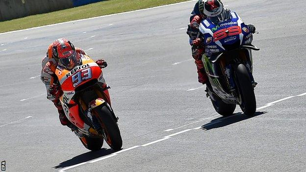 Jorge Lorenzo (right) sees off Marc Marquez in Mugello