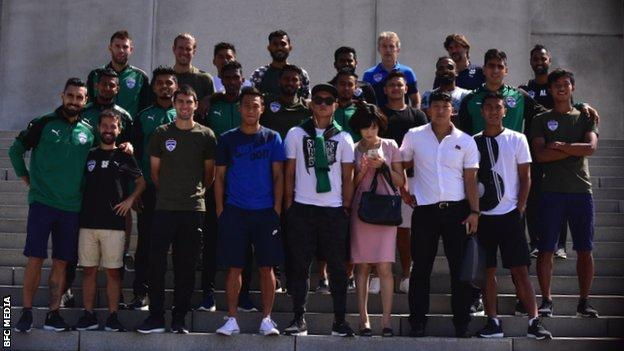 Bengaluru FC players with their North Korean guides