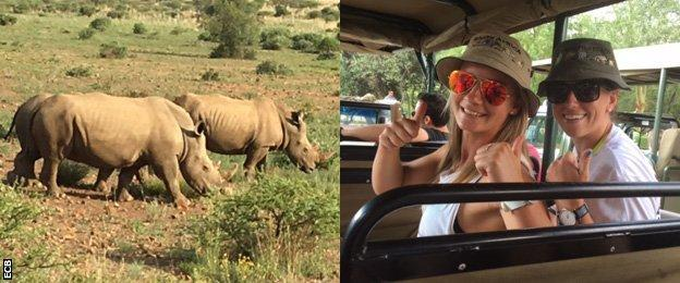 Rhinos and England cricketers on safari