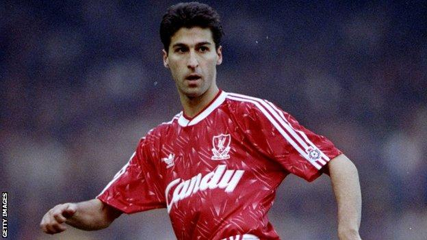 Jimmy Carter in action for Liverpool during a Division One match against Everton at Anfield in February 1991