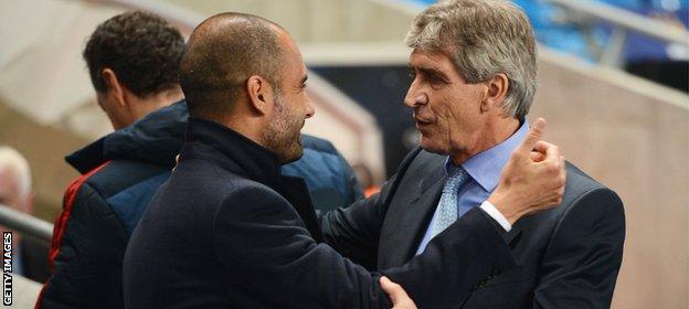 Pep Guardiola (left) and Manuel Pellegrini