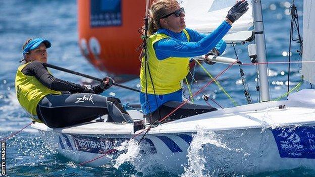 Hannah Mills and Saskia Clark racing in France