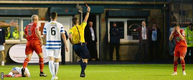 Luke Conlan is sent off by Greg Aitken